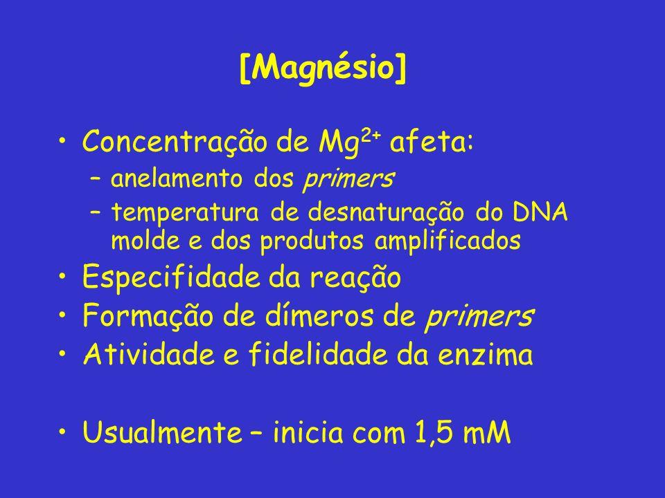 [Magnésio] Concentração de Mg2+ afeta: Especifidade da reação